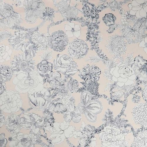 Light Pink and Navy Blue Cotton Fabric