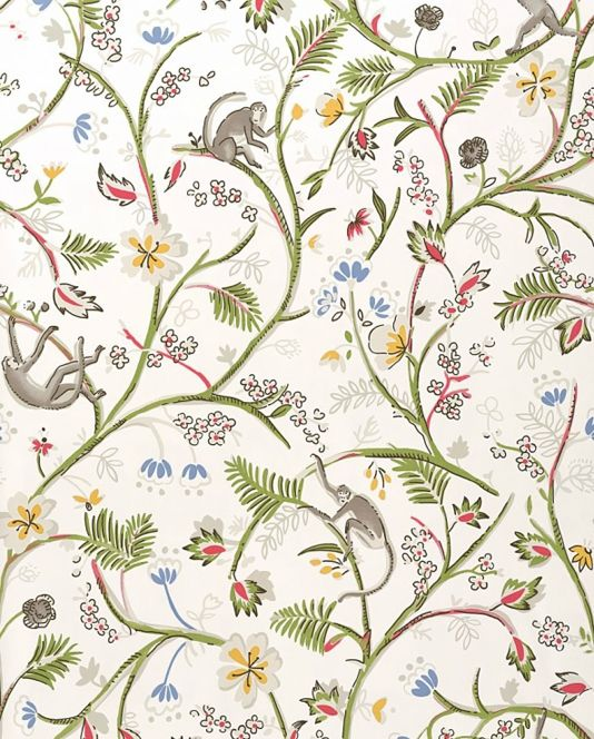 Guadeloupe Floral Wallpaper White