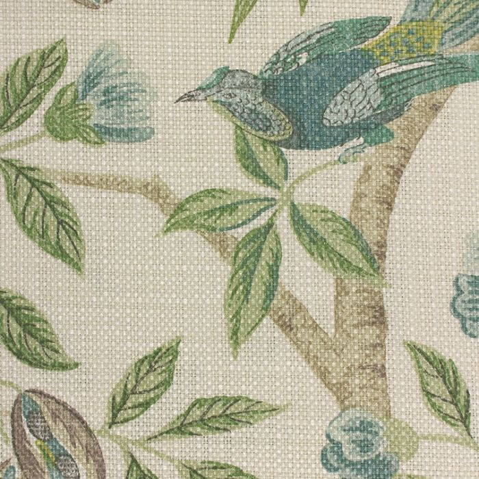 """SANDERSON CURTAIN FABRIC DESIGN /""""Abbeville/"""" 3 METRES BLUE AND IVORY"""