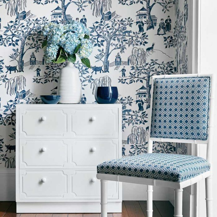 Awe Inspiring Willow Wood Navy Blue Toile Wallpaper Machost Co Dining Chair Design Ideas Machostcouk