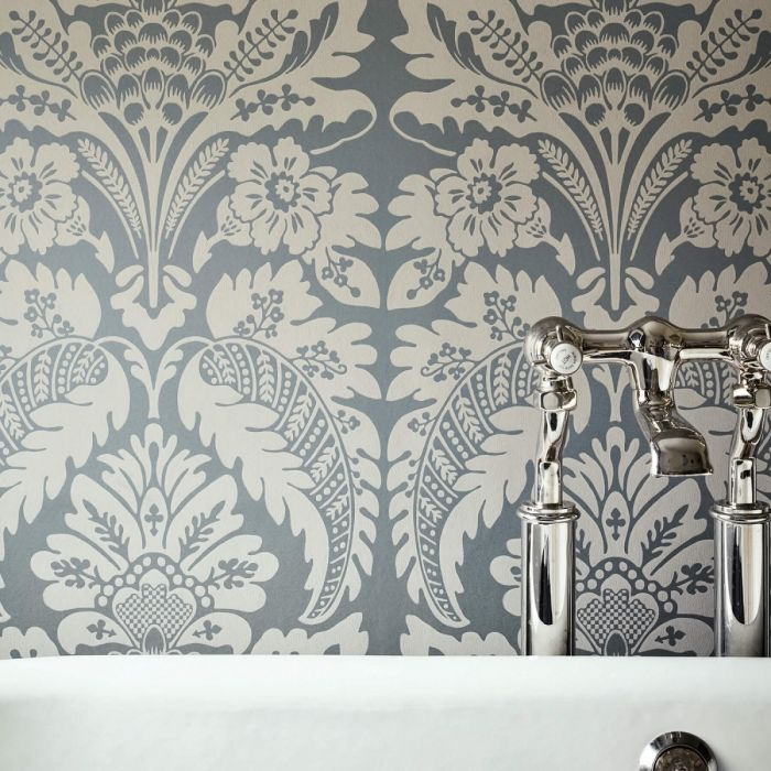 Wilton Wallpaper In Pad Grey And Gold Damask Wallpaper