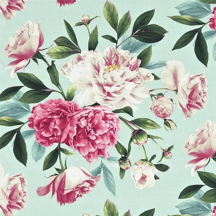 Phoebe Linen Fabric Blue Floral Fabric Zoffany Woodville Collection
