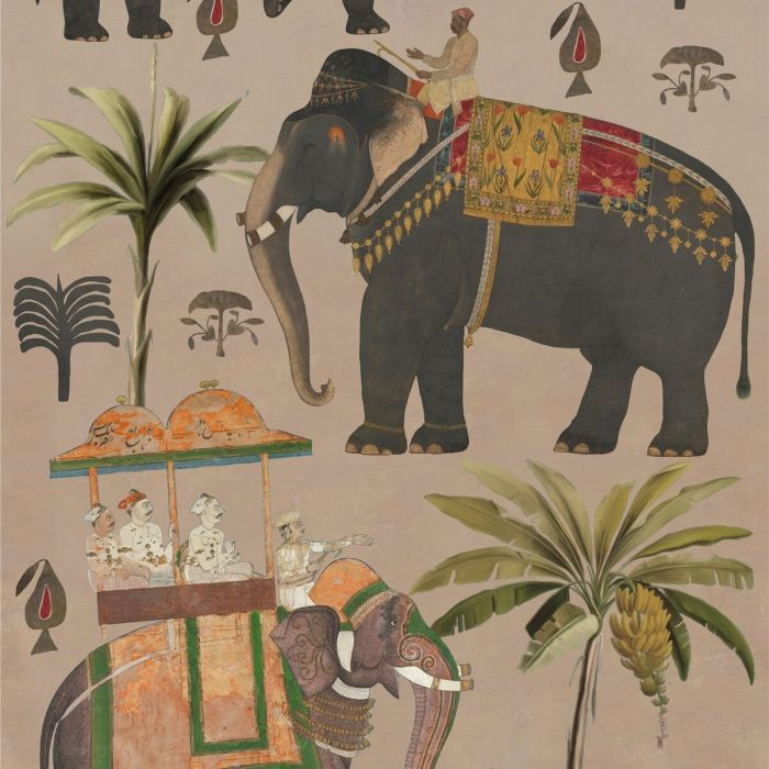 The Procession Wallpaper In Taupe Indian Elephant Wallpaper