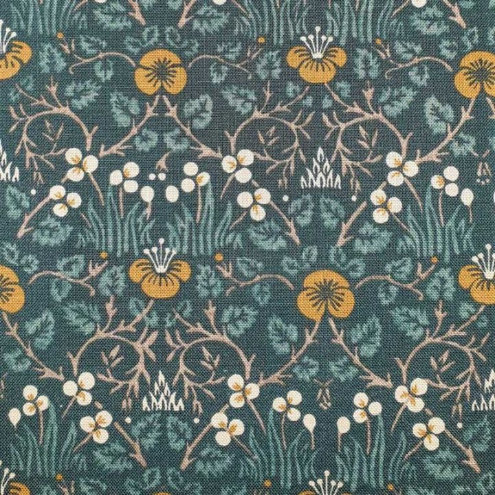 Navy Blue Light-Weight William Morris Rose Floral Lace Dress Fabric Material