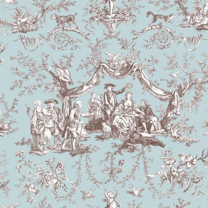 Greuze Toile Wallpaper In Turquoise And Bistre