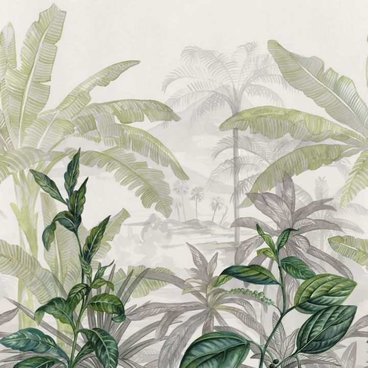 Manille Vinyl Mural Wallpaper In White And Green Casamance