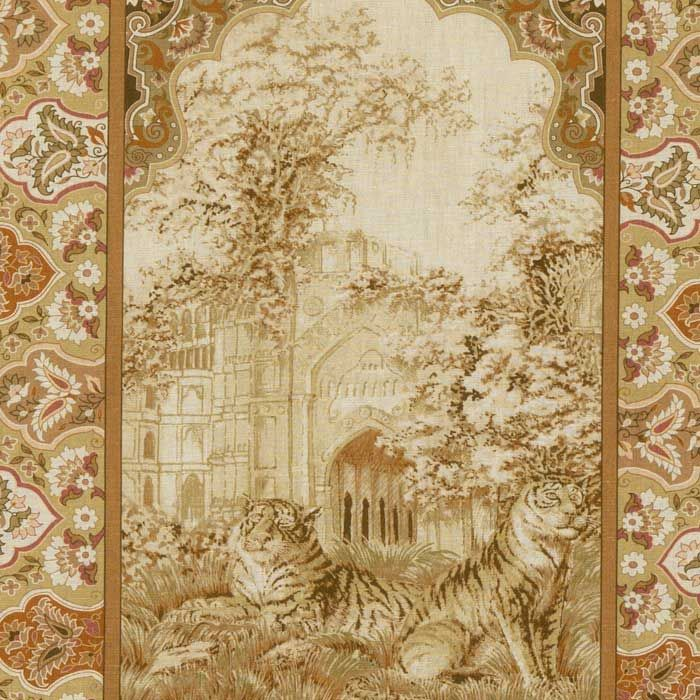 Toile Grey on Ivory Background Designer Curtain Upholstery Fabric
