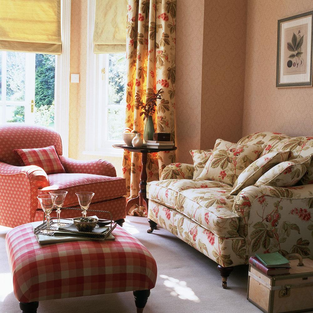 Fl Curtains And Sofa