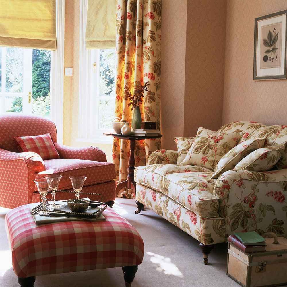 Traditional English Country Sitting Room Floral Curtains