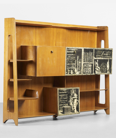 Important bookcase by Ponti and Fornasetti