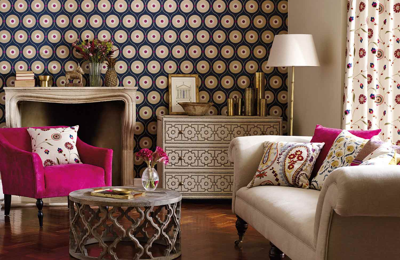 Metallic eye-catching wallpaper at far end of room
