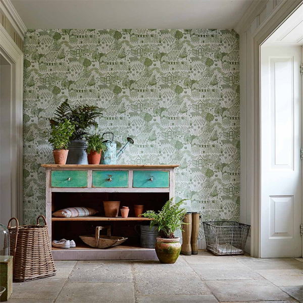 Traditional English Country Sitting Room: Potting Room Wallpaper Collection