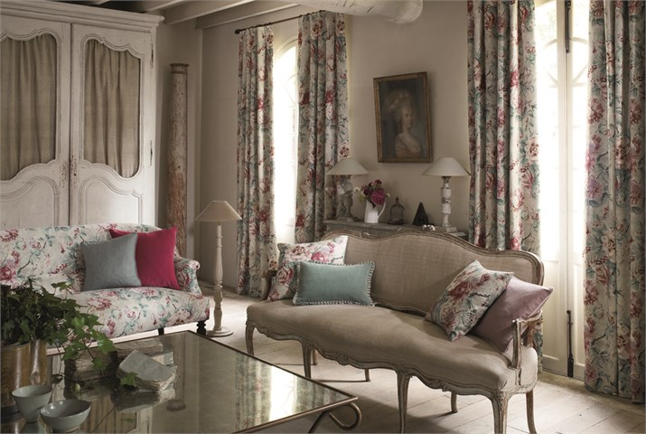 English Floral Linen Curtains and Sofa