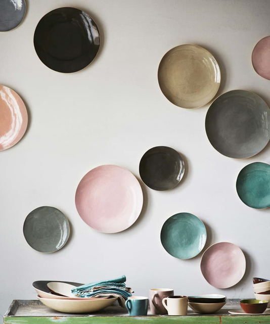 Ceramic plates mounted on a wall