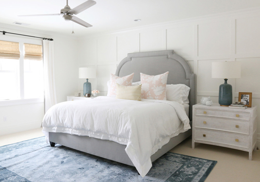 Pink and blue minimal bedroom scheme