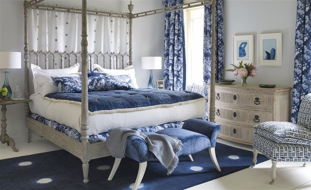Indigo Blue and White Bedroom with four poster bed.