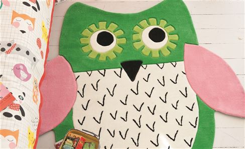 green, white and pink childres owl rug