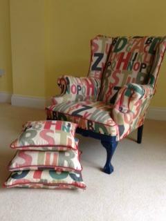 abc fabric arm chair and cushions