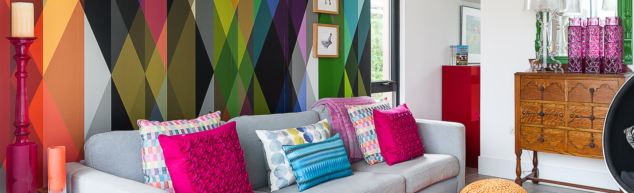Brightly coloured abstract feature wall