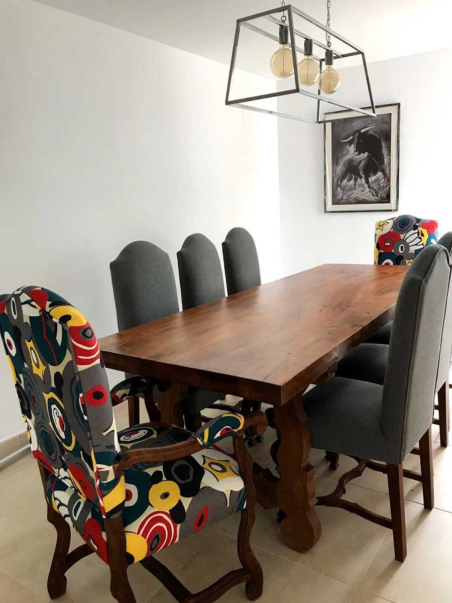 Abstract Floral Fabric Gives Dining Chairs A Modern Update