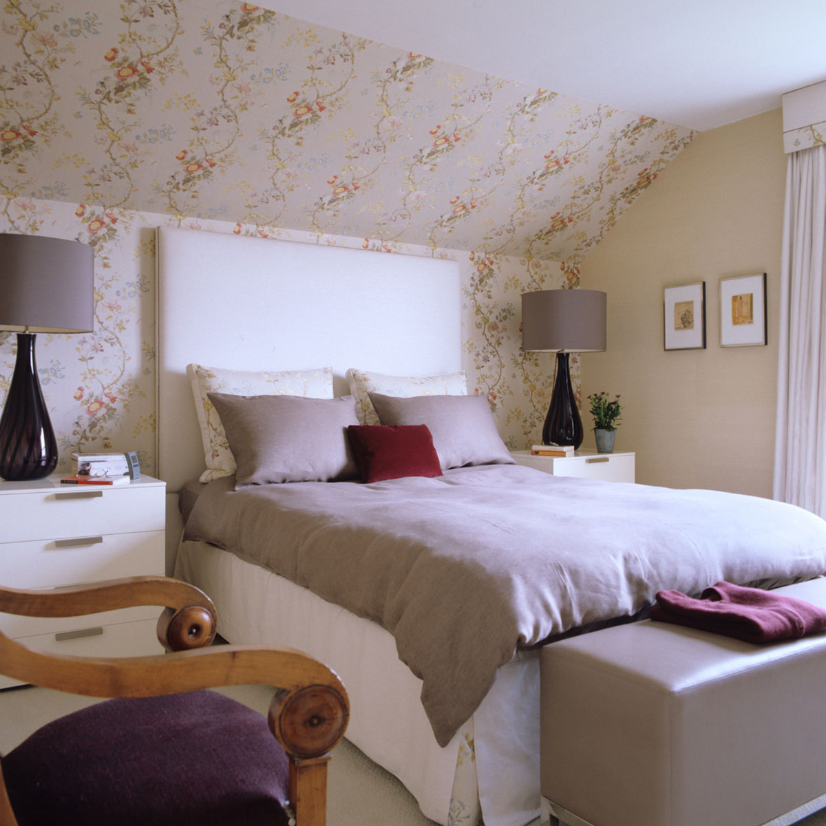 Attic ~Bedroom with Floral Wallpaper