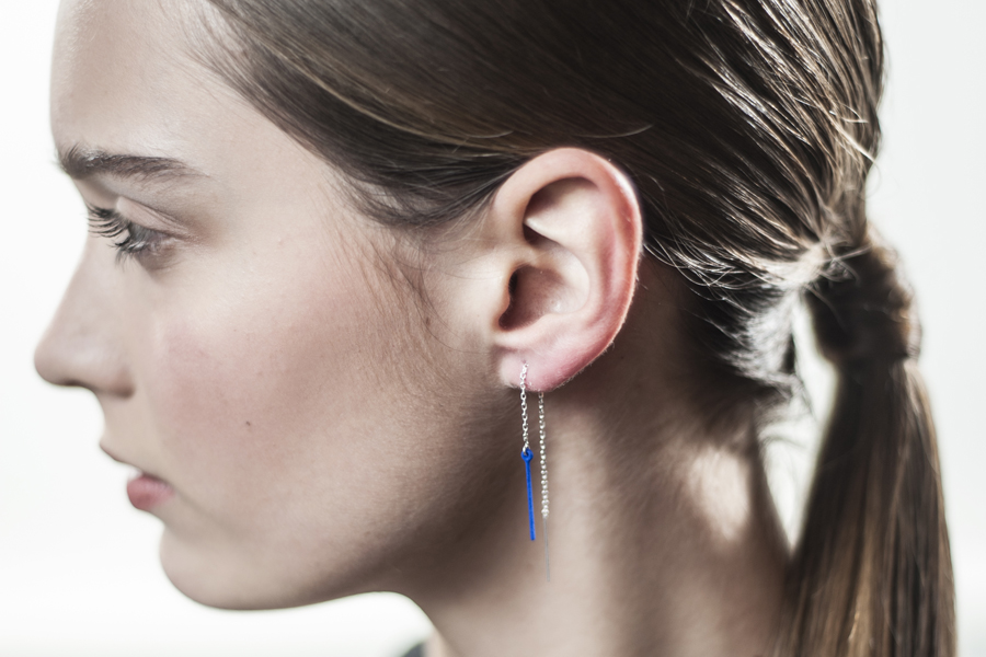 Balanced Threader Earrings in Blue