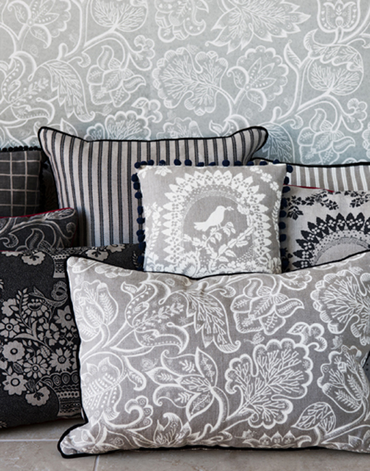 Floral mismatched cushions in black, grey and white