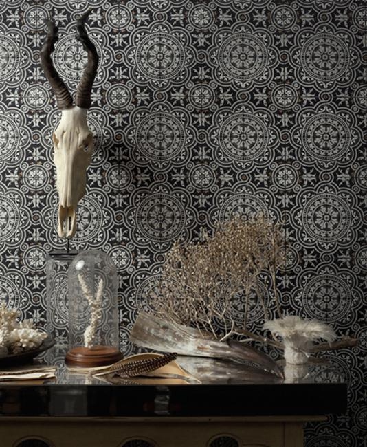 Black and white tile print wallpaper