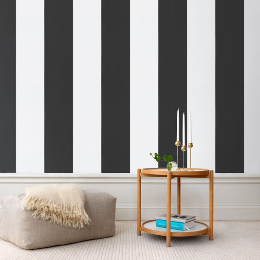 Wide width striped wallpaper in black and white