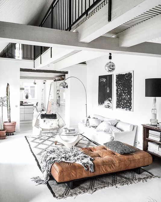 Open plan room with brown accents