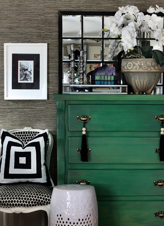 Black and white scheme with emerald green accent