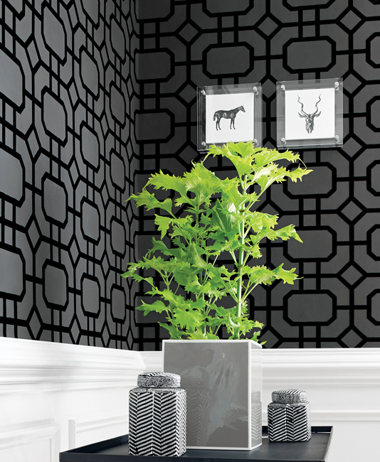 Black trellis flock wallpaper
