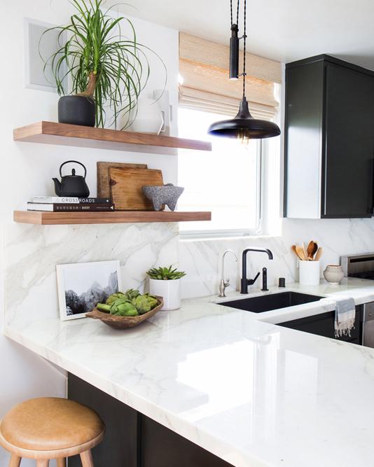Monochrome kitchen scheme with brown accents