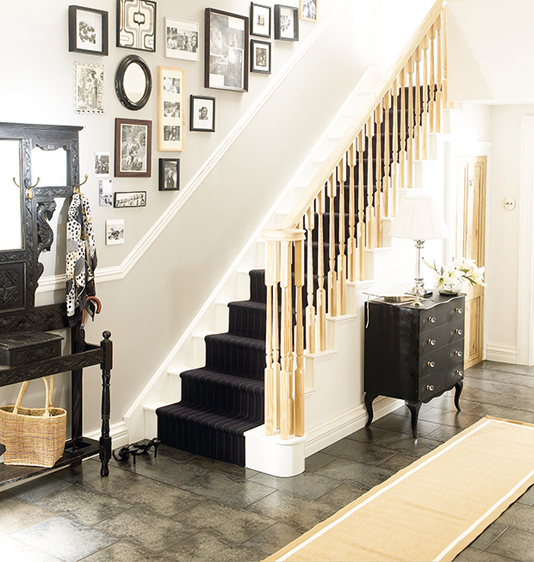 Golden yellow hallway with black and white accents