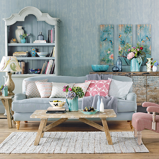 Blue painted  Living Room with Sofa and retro cushions