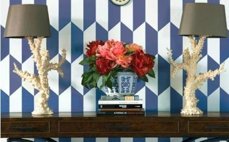 blue and white geometric wallpaper