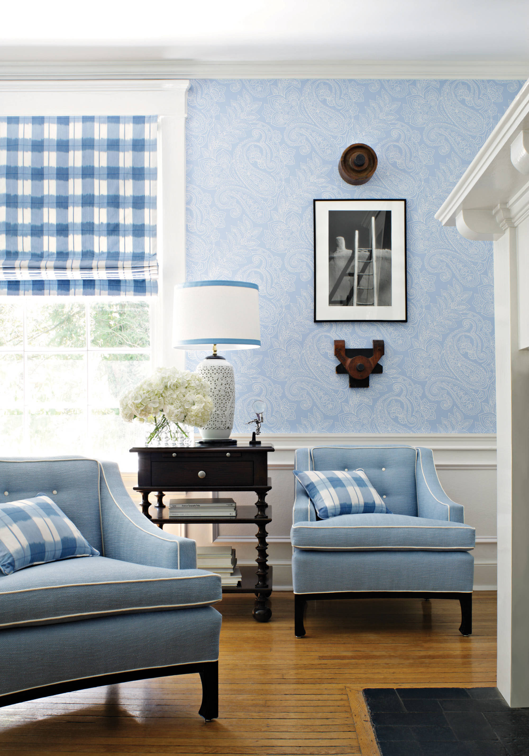 Fresh Blue Sitting Room with Blue and White Wallpaper and Gingham Curtains