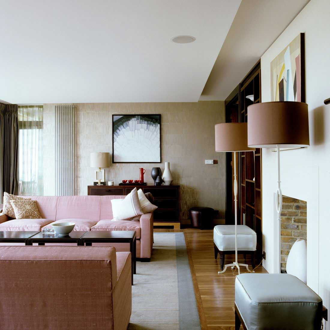 Blush Pink and Silver Living Room