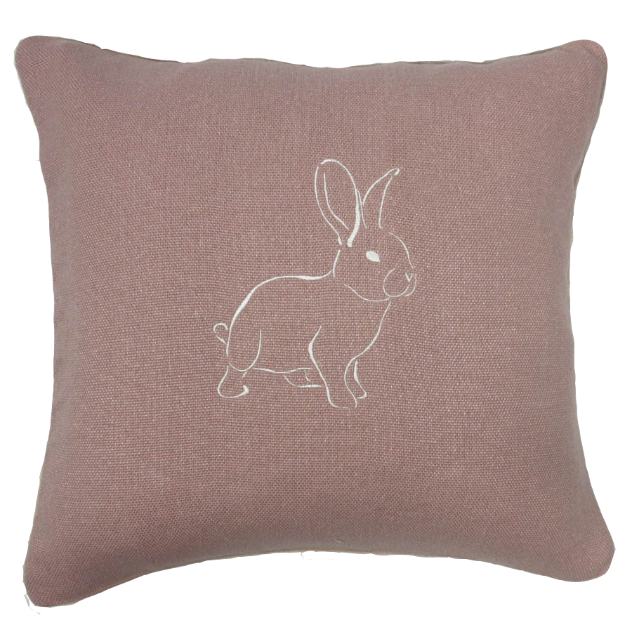 pink cushion with embroiderd bunny