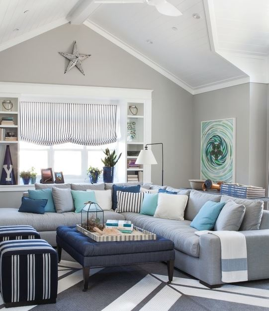 Navy and Turquoise Family Room