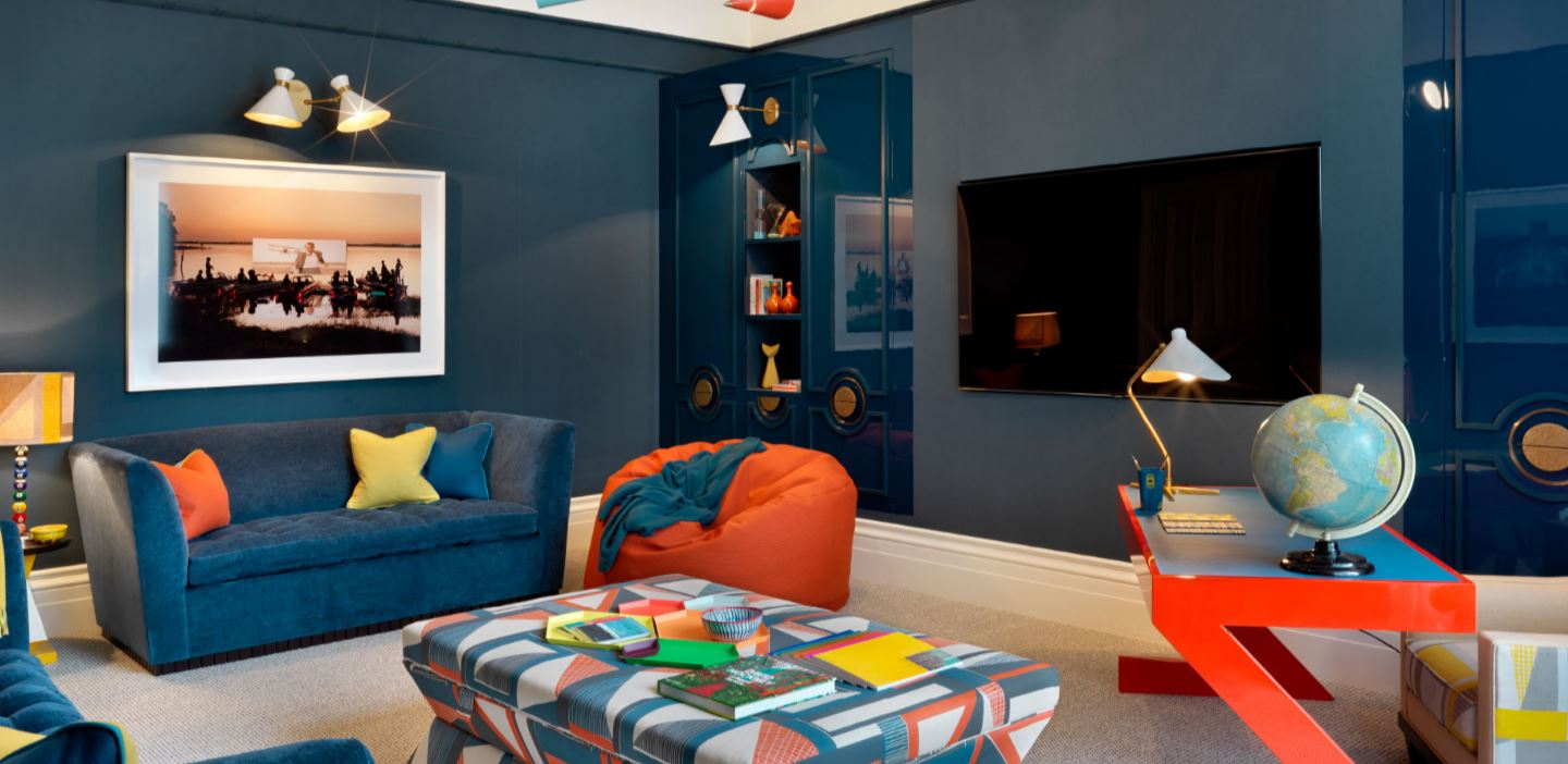 Ordinaire Playroom Painted In Dark Teal With Accents Of Orange And Yellow