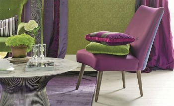 Green and purple velvet fabrics