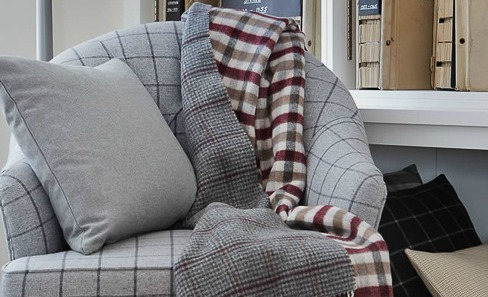 tartan fabric cushion, throw and chair