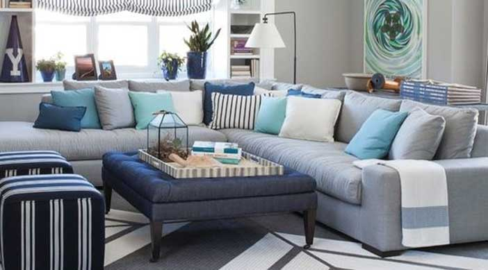 Navy andwhite coastal inspired living room