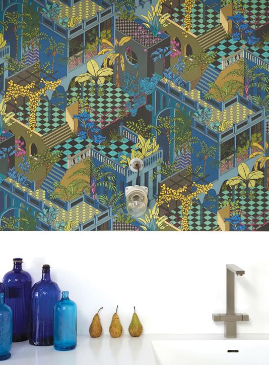 Bold tropical wallpaper behind kitchen sink