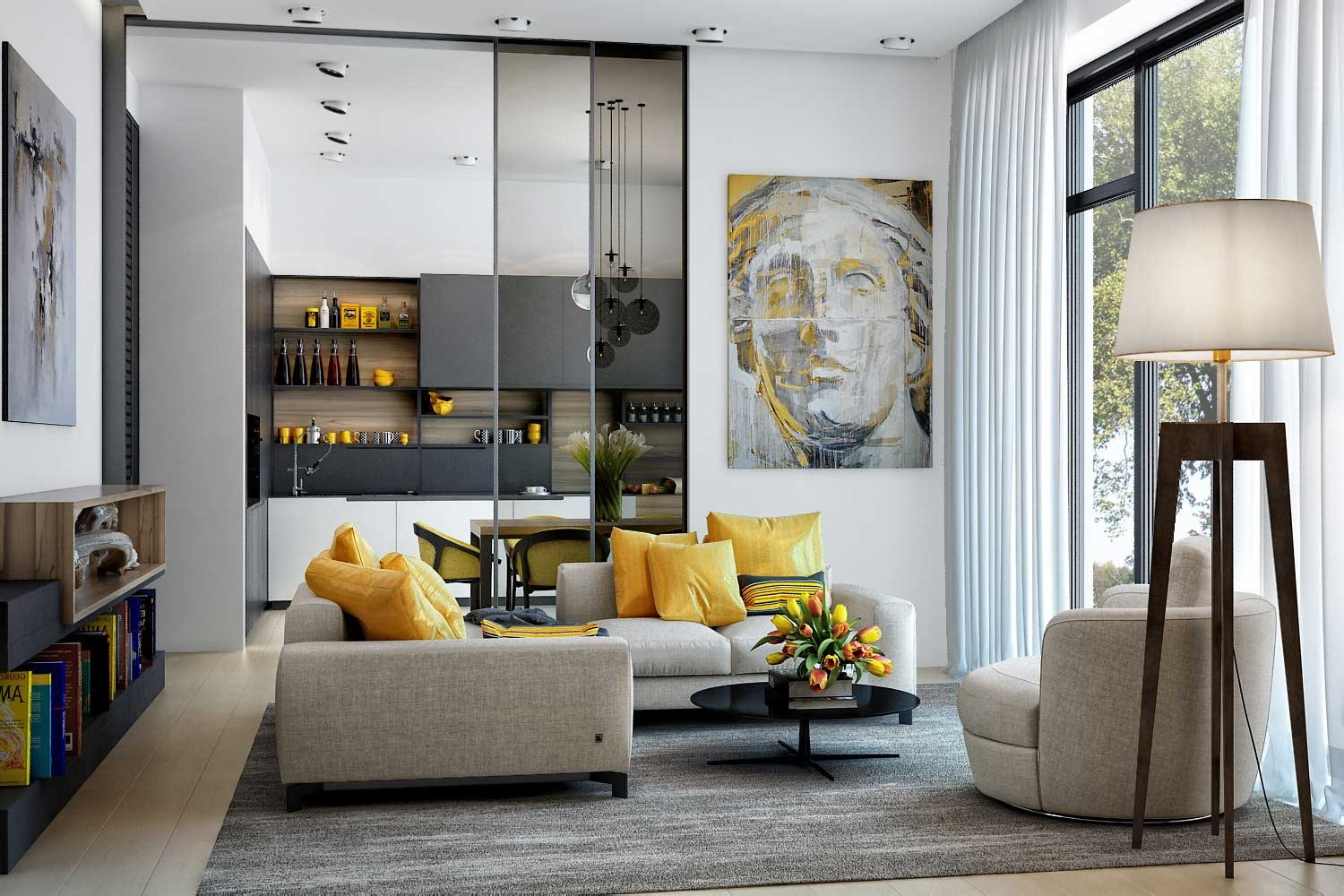 Modern Grey and Yellow Living Room