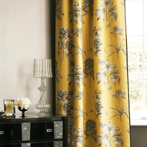 yellow floral curtain