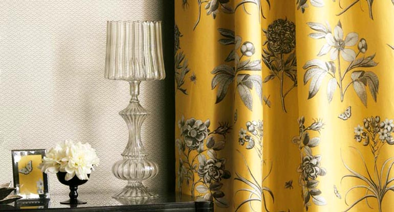 yellow, grey and white floral curtains