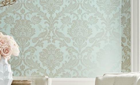 pale blue damask wallpaper
