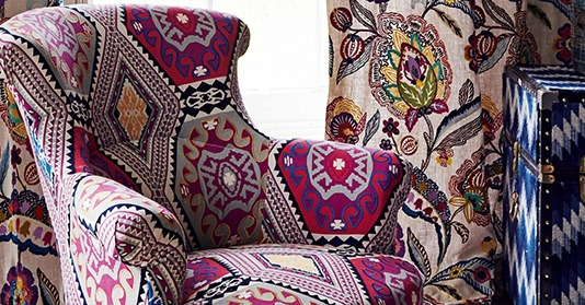 floral and aztec fabric